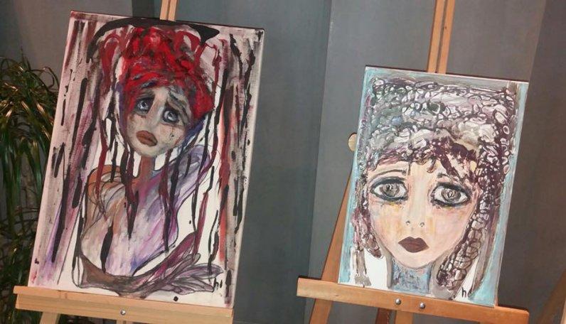 ALS hastası Ali Var ve Hava Oral'ın birbirinden güzel eserleri sergilendi.