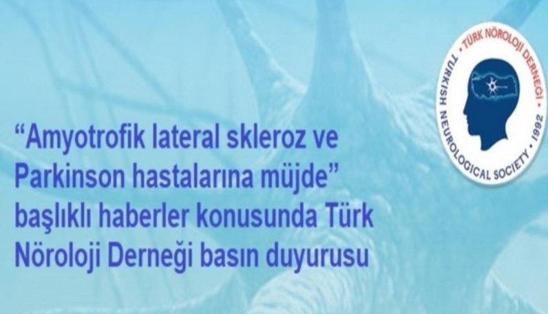 Türk Nöroloji Derneği basın duyurusu
