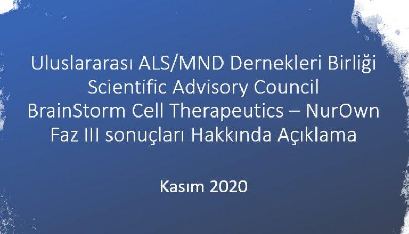 BrainStorm Cell Therapeutics – NurOwn Faz III sonuçları Hakkında Açıklama